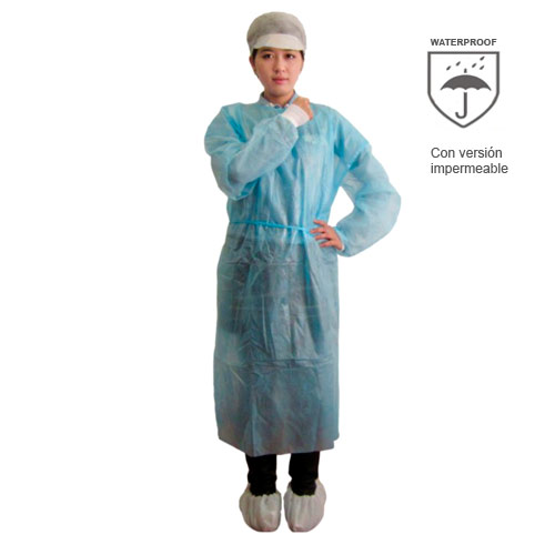 8eb093515 Bata larga impermeable desechable hospital SPP+PE